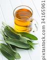 Sage tea and leaves. 34165961