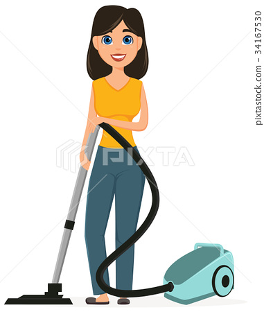 Housewife Vacuuming Home With A Vacuum Cleaner