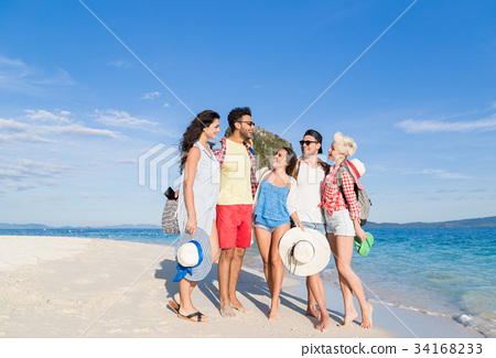 Young People Group On Beach Summer Vacation, Happy 34168233