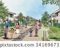 Machi-no-Kun素描城市景觀城市景觀圖像家庭步行女人 34169673