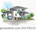 Residential Elevation Sketch of House 34170315