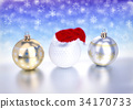 christmas balls and golf ball with santa red hat 34170733