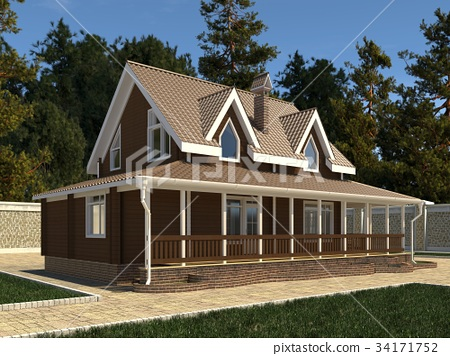 House Photo Realistic Render 3D Illustration 34171752