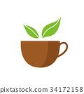 잎, 컵, 벡터 34172158