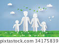 paper family on the grass fiel 34175839