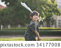 Cute Asian child in kimono  running and look back 34177008