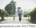 Asian man walking with a siberian husky dog 34177665