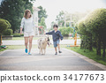 mother and son walking with a siberian husky dog 34177673