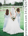 The bride and bridesmaids are showing beautiful 34178267