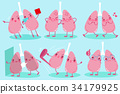 cute cartoon lung 34179925