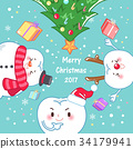 tooth with merry christmas 34179941