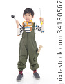Cute Asian child with construction tools 34180567