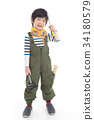 Cute Asian child with construction tools 34180579
