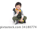 Cute Asian child with construction tools 34180774