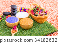Scrub salt and hot stone for Thai spa massage 34182632