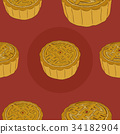 Chinese  Moon Cake seamless pattern vector. 34182904