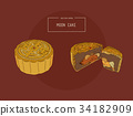 Chinese Cuisine, Moon Cake sketch vector. 34182909