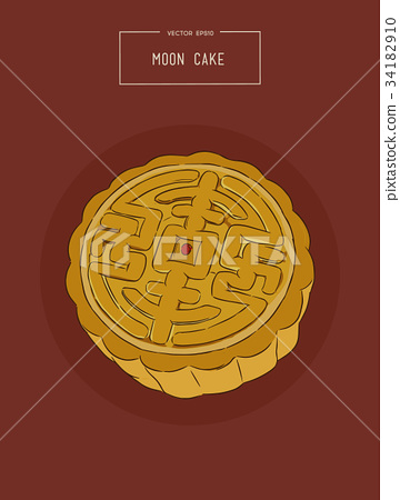 Chinese Cuisine, Moon Cake sketch vector. 34182910