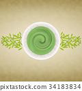 Matcha和茶葉背景 34183834