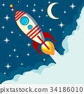 Space rocket flying in space with moon and stars 34186010