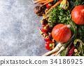Variety of autumn harvest vegetables 34186925
