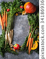 Variety of autumn harvest vegetables 34186936