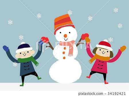 雪人 下雪 雪 34192421