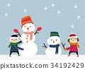 ภาพฤดูหนาวเด็กและมนุษย์หิมะ 34192429