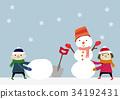 雪人 下雪 雪 34192431
