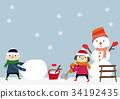 ภาพฤดูหนาวเด็กและมนุษย์หิมะ 34192435