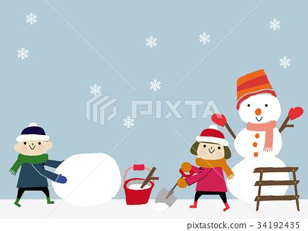雪人 積雪 下雪 34192435