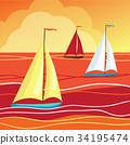 Sails in sea 34195474