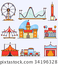 Amusement park vector flat elements isolated on 34196328