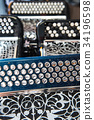 Musical instrument accordion in a shop 34196598