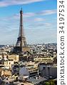 Paris cityscape with Eiffel Tower. Paris, France 34197534