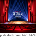 A theater stage with a red curtain and a spotlight 34203424