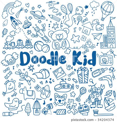 hand drawn kids doodle set,Doodle style 34204374