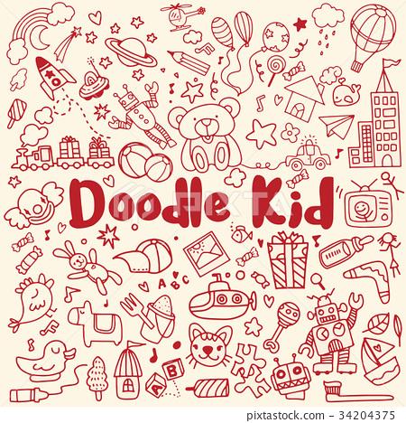 hand drawn kids doodle set,Doodle style 34204375