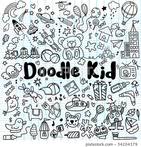 hand drawn kids doodle set,Doodle style 34204379