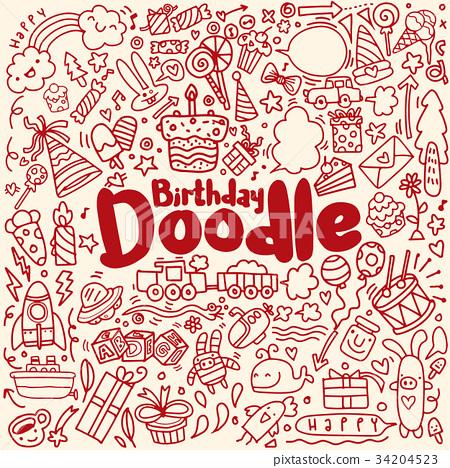 Happy birthday hand drawn. Vector illustration  34204523