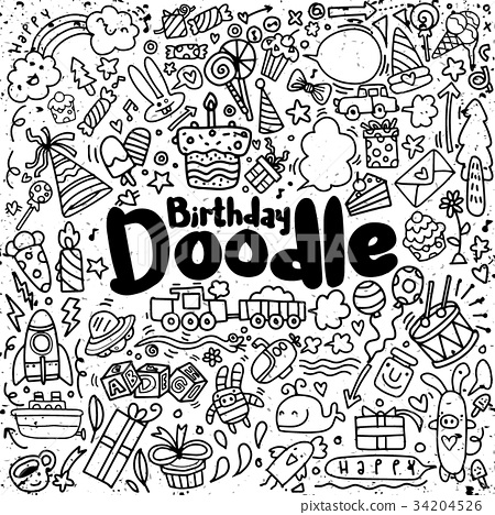 Happy birthday hand drawn. Vector illustration  34204526