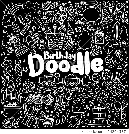 Happy birthday hand drawn. Vector illustration  34204527