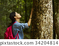 a young woman is touching the tree in the forest. 34204814