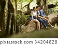 three young friends are sitting and relaxing after a long journey in a forest. 34204829
