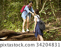 a young woman is holding her friend's hand to jump down in a forest. 34204831