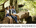 three friends are sitting and enjoying the fresh air in the forest. 34204833