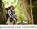 three friends are sitting and enjoying the fresh air in the forest. 34204846