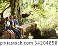 A group of hikers is sitting and enjoying the fresh air in the forest. 34204858