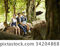 A group of travelers is relaxing on the trunk in the forest. 34204868