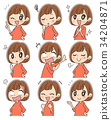 做各種各樣的表情的套婦女 34204871